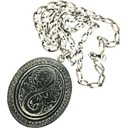 Victorian Carved Vulcanite Pendant on Arts and Crafts Silver Chain