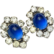 Vintage Paste Sugarloaf Sapphire Clip-on Earrings