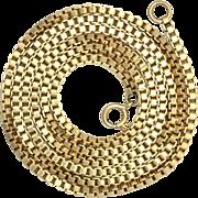 """Long Vintage 9K Gold Venetian Chain Necklace 30"""""""