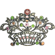 Victorian Sterling Silver Gem-set Giardinetto Brooch by Child & Child