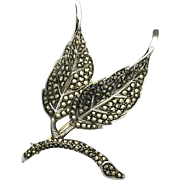 Art Deco Sterling Silver and Marcasite Double Leaf Brooch