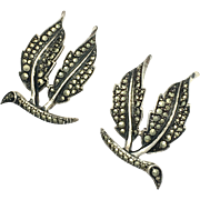 Art Deco Sterling Silver and Marcasite Double Leaf Clip Earrings