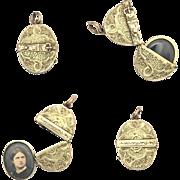 Victorian Belt Buckle Portrait Locket Pendant