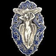 Art Nouveau Sterling Silver Blue Enamel Lady Brooch