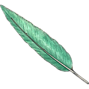 Antique Guilloche Enamelled Sterling Silver Feather Brooch