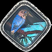 Art Deco Sterling Silver Blue Morpho Butterfly Wing Kingfisher Brooch