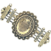 Victorian Citrine and Seed Pearl Silver Gilt Brooch