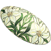 Arts and Crafts Watson & Newell Sterling Silver Cloisonne Enamel Lily Brooch
