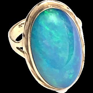 Large Vintage 9K Rose Gold Black Opal Ring