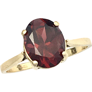 Vintage Scottish 14K Gold Pink Tourmaline (Rubellite) Solitaire Ring
