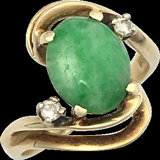 Vintage Diamond and Jade 14K Gold Ring
