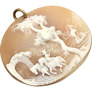 Antique Unframed High Relief Landscape Cameo Pendant in Carved Shell
