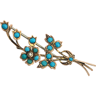 RESERVED FOR HM •Victorian Turquoise, Seed Pearl and 9K Rose Gold Forget Me Not Bouquet Brooch