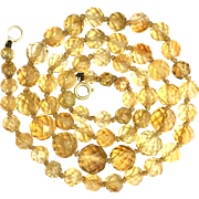Vintage Citrine Bead Necklace with 9K Gold Clasp