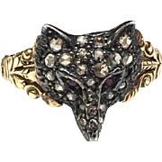 Diamond, Ruby, Silver and 15K Gold Fox/Wolf Ring