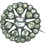 Georgian Round Enclosed-Back Paste Brooch