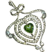 Edwardian/Belle Epoque Silver and Paste Heart and Bow Pendant