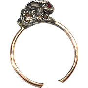 RESERVED FOR HEIDI 14K Rose Gold, Diamond and Ruby Rabbit Ring