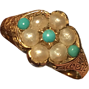 Victorian Turquoise and Pearl 18K Gold Ring