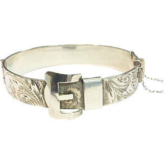 Vintage Sterling Silver Buckle Bangle with Safety Chain