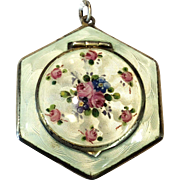 Antique Guilloche Enamelled Sterling Silver Dance Compact