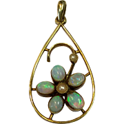 Antique Victorian 15K Gold, Opal and Seed Pearl Pendant