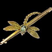 Antique Edwardian 9K Gold Aquamarine Dragonfly Brooch