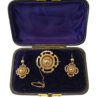 Boxed Antique Victorian Demi-Parure 9K Gold Earrings and Brooch