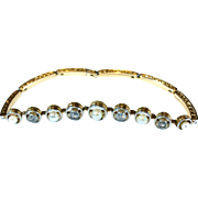 Art Deco Diamond and Pearl 18K White and Yellow Gold Expanding Bracelet