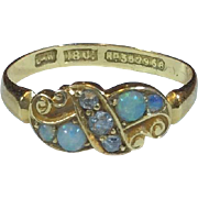 Antique Victorian 18K Gold Diamond and Opal Dress Ring