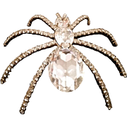 Vintage Huge Sparkling Crystal Spider Shoulder Brooch