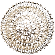 Sarah Coventry Large Round Filigree Silver Tone Brooch/Pin