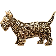 Beautiful Marcasites and Silver Studs Scottie Brooch