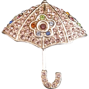 Monet Victorian Style Umbrella Brooch/Pin