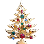 Brooks Christmas Tree Harp Holiday Gold Tone Rhinestones Brooch
