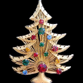 Brooks Christmas Tree Harp Holiday Gold Tone Rhinestones Brooch