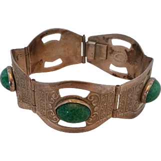 Vintage Hecho En Mexico with Green Stone Bracelet Eagle Head Stamp