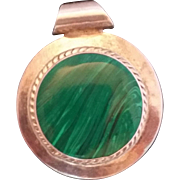 Sterling Silver 925 Mexico Green Malachite Pendant