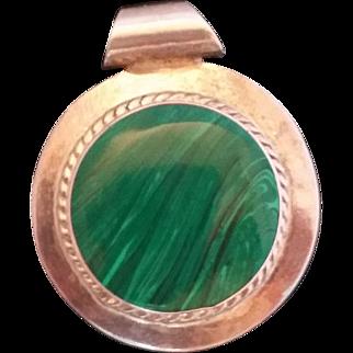 Sterling Silver 925 Mexico Green Malachite Pendant
