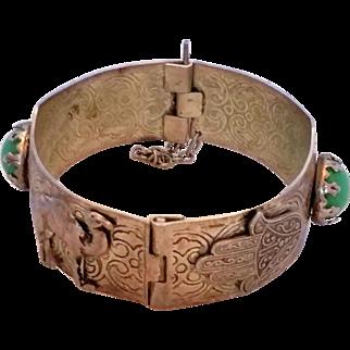 Vintage Middle Eastern Hamsa Hand Camel Bangle Bracelet