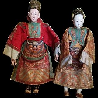 Vintage Pair Chinese Opera Dolls