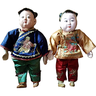 Vintage Chinese Boy and Girl Doll