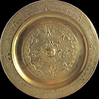 Vintage Mayan Brass Wall Plate