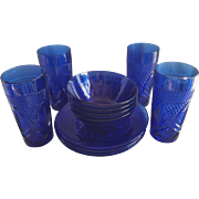 Vintage Cobalt Blue Arcoroc Tumblers and Dishes