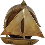 Brass Sailboat and Coaster