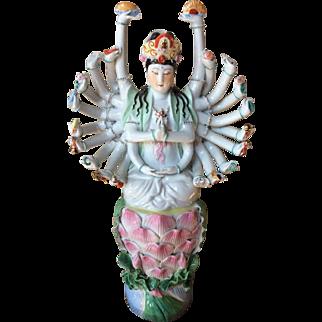 Hindu Goddess Large Porcelain Statue