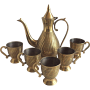 Brass Pitcher & Cups