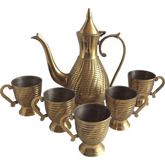 Brass Pitcher & Cups
