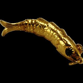 Vintage 18kt Articulated Fish Pendant