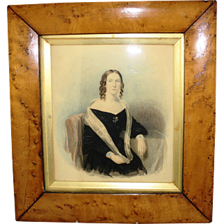 19th century Watercolour  Portrait in a Birds Eye Maple Frame